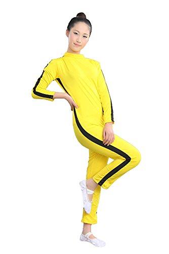 sport Body-Anzug - Halloween Kampf Film Kung Fu Super Star Bruce Lee Kostüm Kleidung Strampler Training Anzug Sportbekleidung für Kinder Jungen und Mädchen - Gelb (Gute Halloween-figur-kostüme)