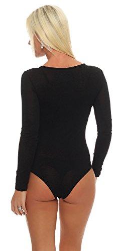 IKONA21 - Fashion Italy Damen Body Bodywear Unterwäsche Bodysuit Overall Jumpsuit Shirt Onesize S M 36 38 900 001 Schwarz
