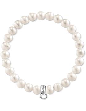 Thomas Sabo Herren-Armband 925 Silber Perle weiß Ovalschliff 16.5 cm - X0221-082-14-L16,5