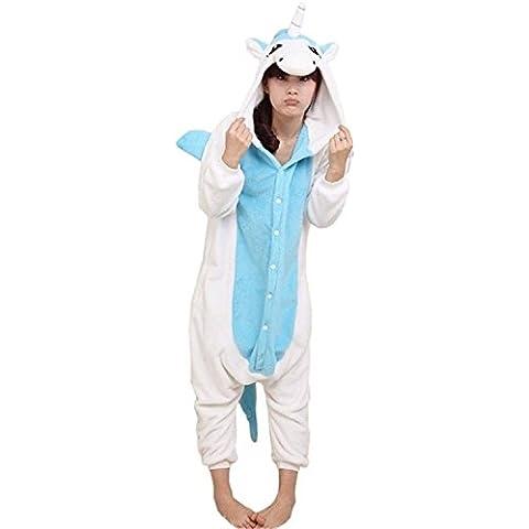 ABYED Kigurumi Pijamas Unisexo Adulto Traje Disfraz Adulto Animal Pyjamas,Unicornio azul Adulto Talla XL -para Altura 175-183CM