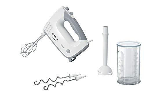 Bosch MFQ36440 ErgoMixx Handrührer (450 W, spülmaschinengeeignet, ergonomische Form, leise, geringes Gewicht, hitzebeständiger Mixfuß, Mixbecher) weiß