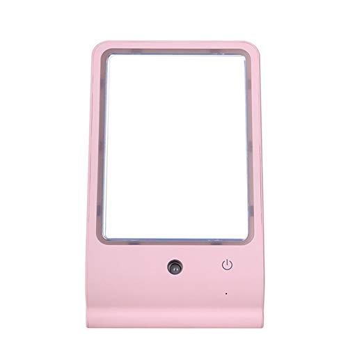 ZLXHR Schönheits-Spray-Schminkspiegel führte Desktop-Eitelkeits-Spiegel mit hellem kaltem Spray Desktop-Eitelkeits-Spiegel-Spray-Meter-Nano-Befeuchtung,Rosa (Licht Eitelkeit Natürliches)