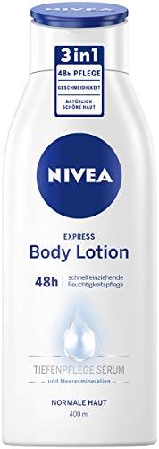 NIVEA Express Body Lotion (400 ml), extra schnell einziehende Körperlotion, 3 in 1 Formel: 48h Pflege, Geschmeidigkeit und natürlich schöne Haut