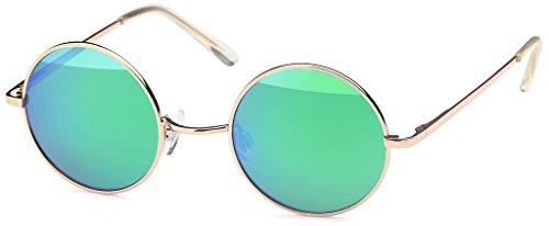 Balinco Sonnenbrille mit runden Gläsern und schmalem Metall Gestell, Bügel mit Federscharnier (Gold-Green)
