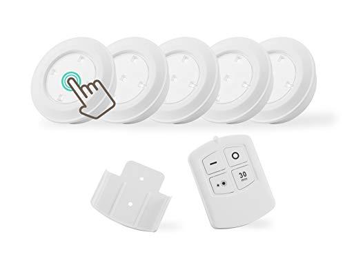 LED LOVERS® 5 LED Unterbaulampen mit Fernbedienung - für Küche oder Schränke programmierbare Spots für Treppe, batteriebetriebenes Leuchten Set mit Timer und Dimmfunktion (Weiß)