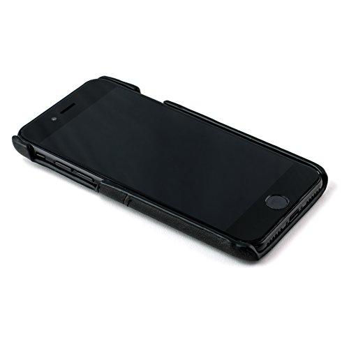 Étui iPhone 7 Plus Cartes de Dockem- Coque Portefeuille minimaliste vintage en cuir synthétique ; Coque Ultra fine snap-on, professionnelle, chic, avec deux emplacements pour cartes, en brun Black