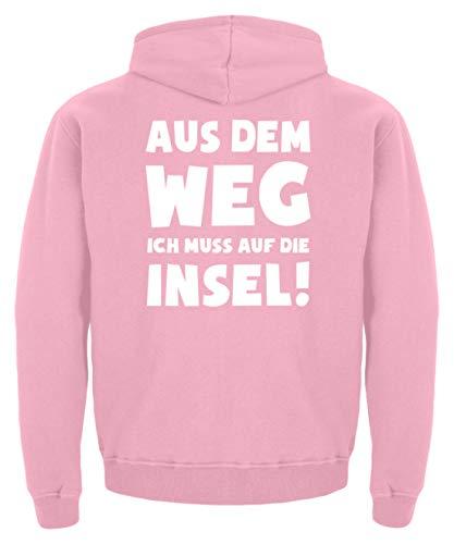 shirt-o-magic Meer: Muss auf die Insel! - Kinder Hoodie -9/11 (134/146)-Baby Pink (Einzigartige Baby Kostüme Ideen)
