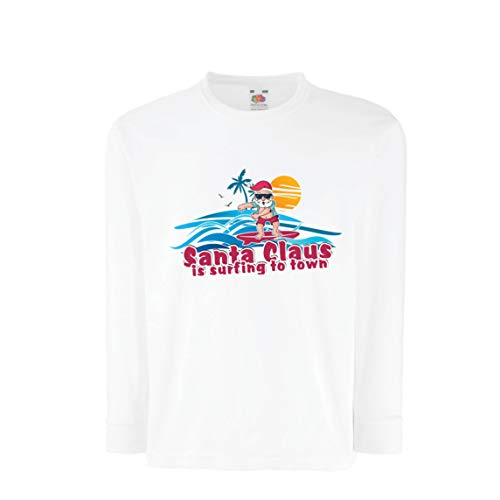 lepni.me Kinder-T-Shirt mit Langen Ärmeln Weihnachtsmann Surft zur Stadt, Weihnachtstanzhemd (7-8 Years Weiß Mehrfarben)