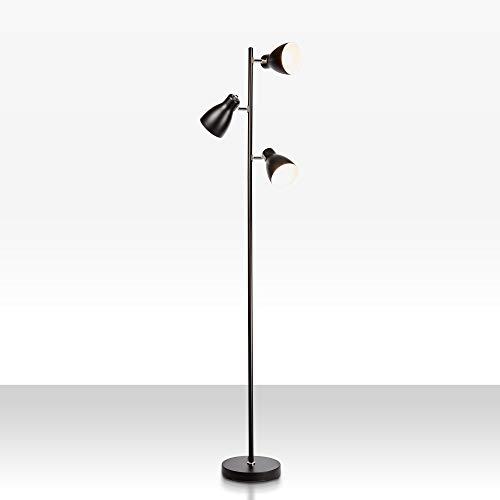 B.K Licht lampadaire LED vintage, lampe à pied design rétro, 3 spots orientables, ampoules E27 LED ou halogène, hauteur 166,5 cm, métal noir blanc