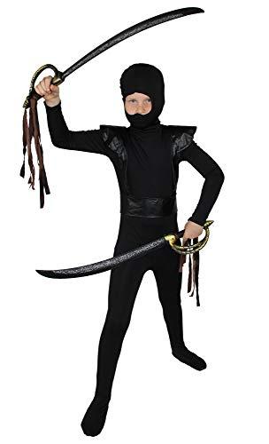 Foxxeo schwarz rotes Ninja Kostüm für Jungen schwarzes Ninjakostüm Kinderkostüm Größe 110-116 (Ninja Kind Schwarze Kostüm Kämpfer,)