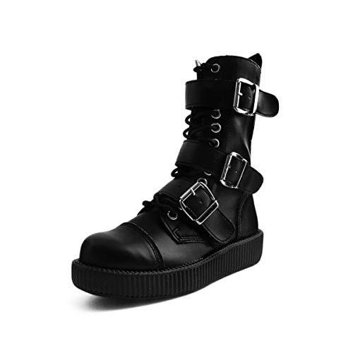 T.U.K. Shoes Herren Damen Schwarz Tukskin 3-Schnallen Kampf Boot EU39 / UKW6