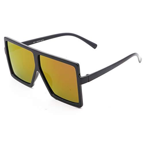 Honneury Herren und Damen Sonnenbrillen Classic Oversized Sonnenbrille UV400 Schutz (Farbe : Black Frame/Yellow Lens)