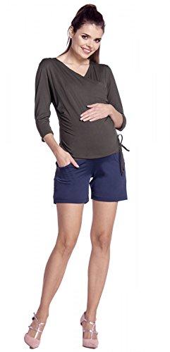 Zeta Ville -Femme maternité pantalon courts soyeux empiècement extensible - 189c Graphite