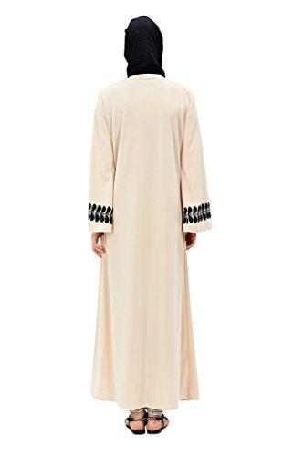 GladThink Frauen Muslim Lange Ärmel Mittlerer Osten Islamischen Abaya Beige