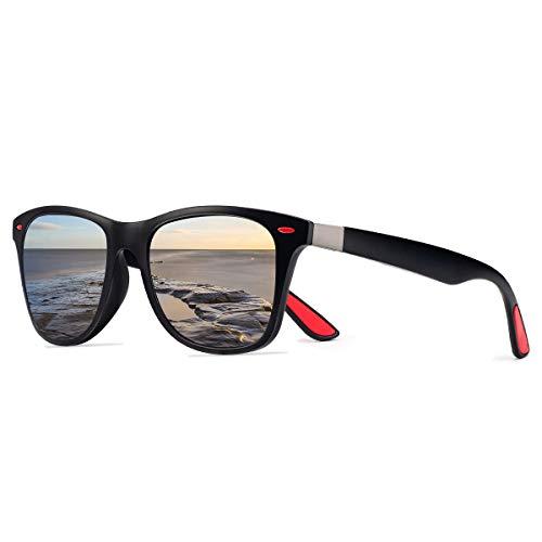 CHEREEKI Polarisierte Mode Sonnenbrille mit UV400 Schutz Unisex Klassische Brille für Herren Damen (Schwarz und Silber)