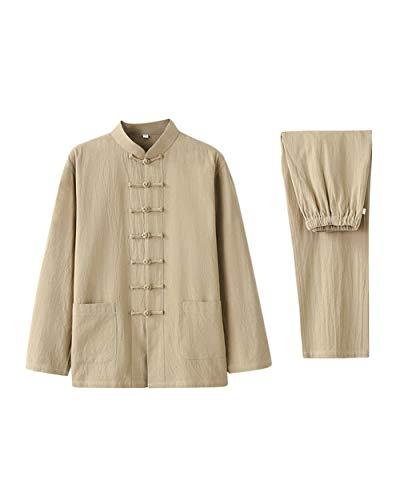 2 Stück Baumwoll-anzug (besbomig Baumwolle Leinen Tai Chi Uniform Hemden Hosen für Männer - Zwei Stücke Traditionell Hanfu Tang Anzug Kampfkunst Kleidung Unisex Erwachsener Setzt)
