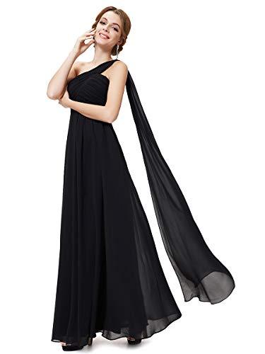 Ever-pretty vestito da sera donna monospalla linea ad a chiffon stile impero con cinghia nero 50