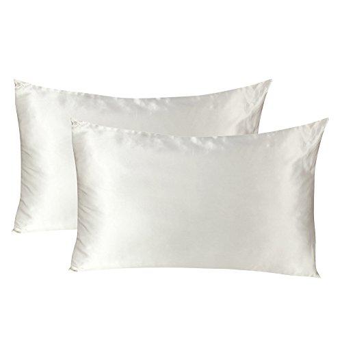 Tenn Well 2er-Setmit Seiden-Kissenbezüge, beidseitig 19Momme, reine Maulbeer-Seide, Kissenbezug mit verstecktem Reißverschluss für Haar und Haut, Hypoallergen (weiß) -
