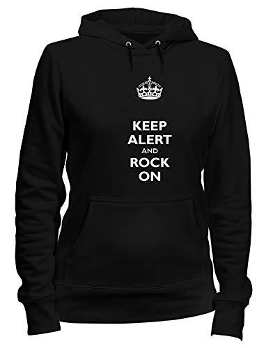 Kapuzen-Sweatshirt Frauen Schwarz TKC0168 Keep Calm ALERT and Rock ON -