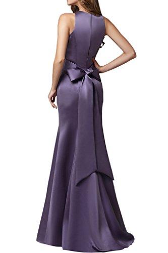 Sunvary Glamour Meerjungfrau Satin Neu Rund Abendkleider Bodenlang Mutterkleider Grape