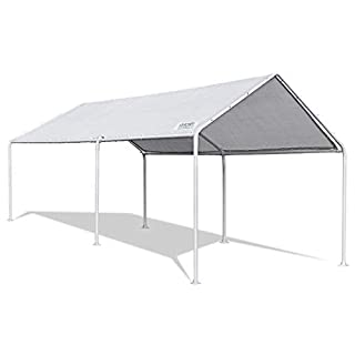 Quictent 3x6M Heavy Duty Carport White Portable Garage Steel Frame Car Shelter Outdoor Car Canopy With Waterproof Tear Resistance Cover