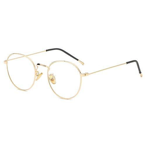 Gläser Trend Männer Und Frauen Brillengestell Mode Brille Retro Anti-Blaue Brillengestell Flachen Spiegel (Color : Gold, Size : Kostenlos)