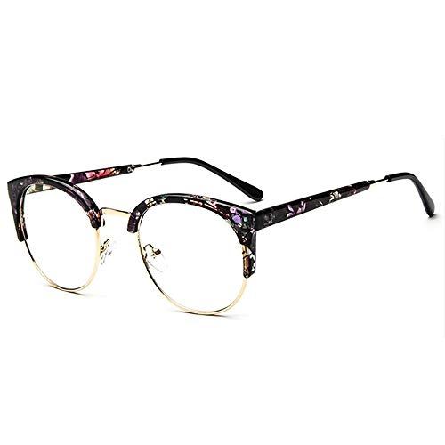 Tianzhiyi Glasdekoration Unisex Vintage Brille Horn Umrandeten Nerd Metall Brillen Optische Brille Half Frame Brille für Frau und Mann (Color : Schwarz)