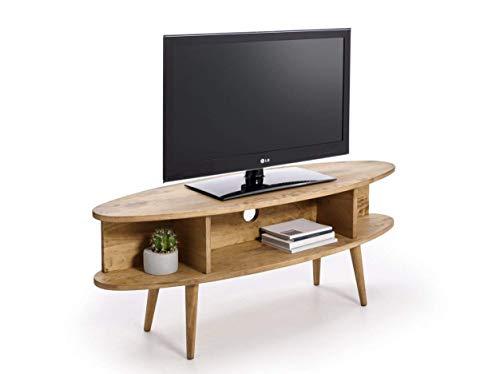 HOGAR24 ES Meuble TV Design Vintage Ovale avec étagères, Finition Bois Naturel ciré Dimensions (l x p x h) : 120 x 40 x 49 cm.