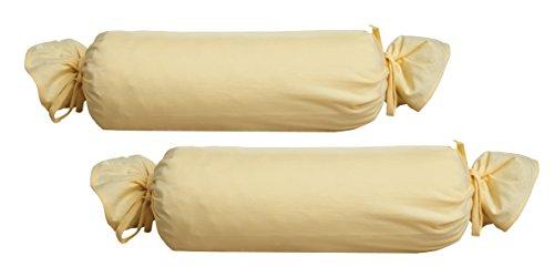 Biberna 0077144 Jersey-Kissenhülle für Nackenrolle aus 100 % Baumwolle, 2er-Pack, 15 x 40 cm Vanille, 27 x 18 x 2 cm -