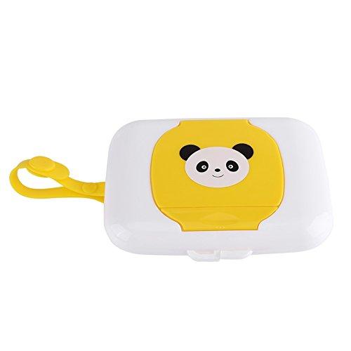 Zerodis Feuchttücherbox Baby Feuchttücher Panda Kasten Wet Tissue Case für Outdoor Reise Tragbar Wiederverwendbar(White + Yellow)