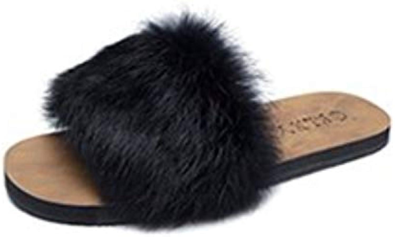 GFLD Pantofole pelose Autunno Inverno Lady di Pantofole Piano Cappotto di Tacco Antiscivolo Resistente casa Toe... | Eccellente  Qualità  | Uomo/Donne Scarpa