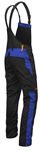 Kermen - Männer Arbeits-Latzhose mit Kniepolstertaschen Berlin Kombi-Hose - Made in EU - Größe: 24, Farbe: Schwarz-Blau