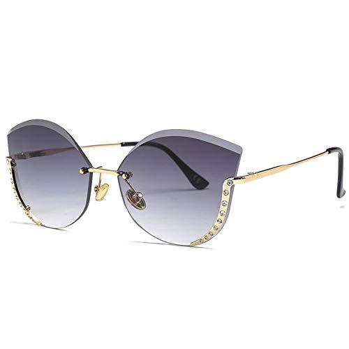Thirteen Damen Sonnenbrillen, Fashion Diamond-Cut Cat Eye Sonnenbrillen Summer Beach Fashion SonnenbrillenSuitable Driving Beach Fashion Travelling Metal Frame UV400 (Color : A)