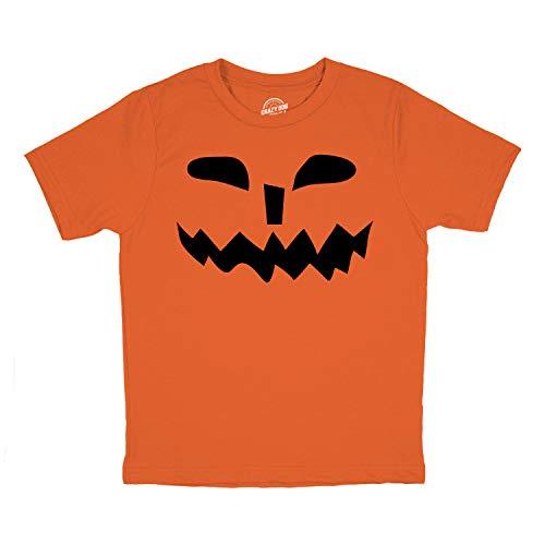 Crazy Dog Tshirts - Toddler Spikey Teeth Pumpkin Face Funny Fall Halloween Spooky T Shirt (Orange) - 2T - Baby-Jungen - 2T