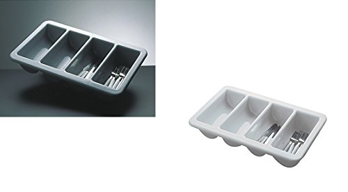 Bac à couverts GN 1/1 en Polypropylène Gris ou Blanc, empilable et passe au lave-vaisselle/53 x 32,5 x 10 cm | Sun gris