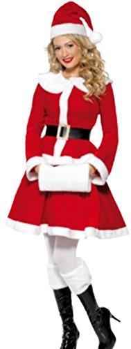 Karnevalsbud - Damen Weihnachtsfrau Kostüm Jacke, Rock, Hut, Gürtel und passenden Hand Muff, L, (Lebkuchen Kostüm Verkleiden Mann)
