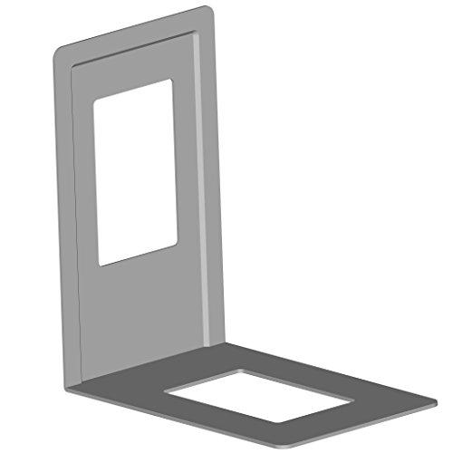 Element 10803-00004 Set da 4 reggilibri in metallo, 120 x 130 mm, colore Alluminio grigio