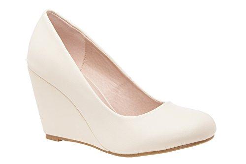 Andres Machado.AM557.Chaussures à Talon compensé en Soft.Pour Femmes. Petites et Grandes Pointures de la 32 à la 35, 42 à 45 Beige.N