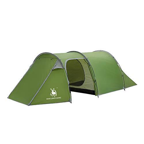 ngzelt Für 3-4 Personen, Zweilagiges, Regensicheres Tunnelzelt, Wasserdicht Und UV-Geschützt, Sonnenschutz Für Strandcamping, Wandern ()