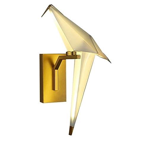 GRFH Petite applique murale contemporaine Lampe murale moderne Home Decor Lampe de mur en acrylique Applique murale Chevet de chevet Ensemble d'éclairage de couloir Applique murale d'oiseau Origami , a