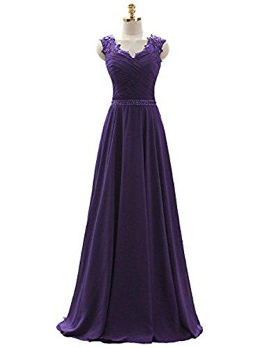 Vickyben Damen langes V-Ausschnitt Spitzen Traeger A-linie Chiffon Abendkleid Hochzeit Kleid Ballkleid brautjungfer Kleid Party kleid Purple