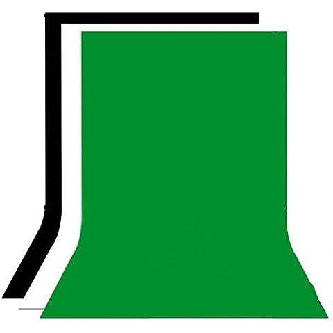 ESDDI 2 x 3 M Kit de Tela de Fondo de Fotografía, Tela sin Tejidos para Estudio de Fotografía, Auotorretrato, Vídeo PS051(Negro, Blanco y
