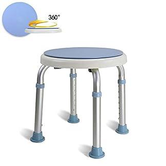COOSNUG Taburete de Ducha 360 ° Giratorio Taburete de baño Altura Ajustable 36-51 cm Antideslizante Sin Respaldo para Mujeres Mayores y Embarazadas