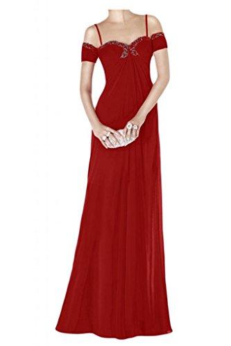 TOSKANA BRAUT Chic Empire Abendkleider Lang Chiffon Brautjungfern Party Ball Promkleider Abendmode Rot