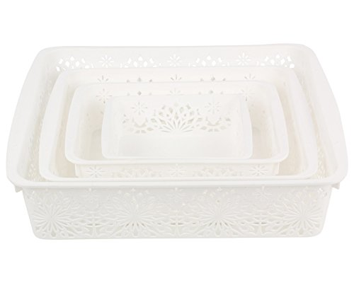 Miamour 4 Piece Plastic Basket, White