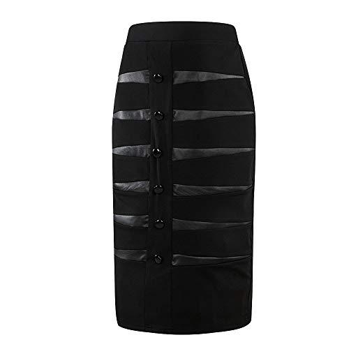 (Amphia - Damenknopf-Profi-Rockrock - Professionelle Hinterröcke für Frauen Wear to Work, Figurbetontes Kleid, Skirits(Schwarz,5XL))
