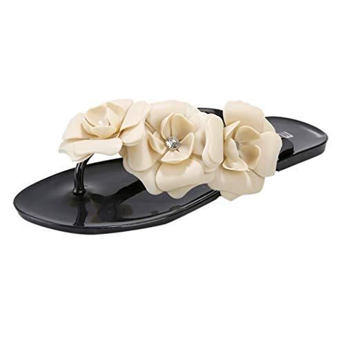 Fenverk Damen Sandalen Sandaletten Sommerschuhe Leaves Slingback Sommer Plateau Flip Flops Bohemia Keilabsatz Clip Toe Schuhe Mit Perlen(Schwarz,41 EU) -