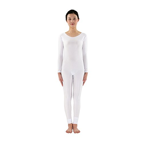 Rundhalsausschnitt Full Body Spandex Dance Unitard Body Kostüme, weiß