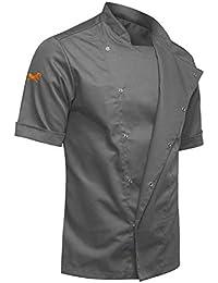strongAnt - Chaqueta Cocinero de Manga Corta. Uniforme de Chef Hombre Noir. Ropa de Cocina. Tela de Tencel/Algodón - Estilo Delgado, Ajuste Delgado - Hecho en EU - Noir/Gris S-XXL