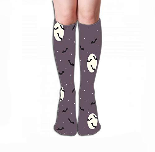 Xunulyn Hohe Socken Print Knee High Socks Athletic Over The Calf Tube 19.7